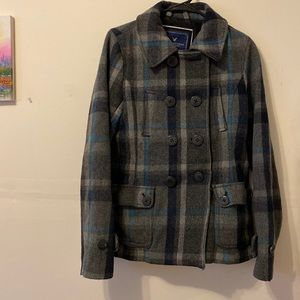 American Eagle Plaid Peacoat
